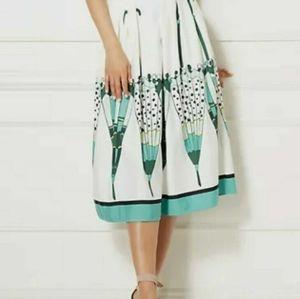 Eva Mendes umbrella print folded pleat skirt